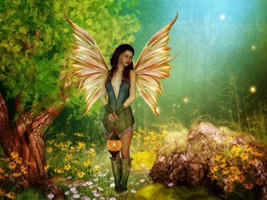 Elven fairy in forest with lamp