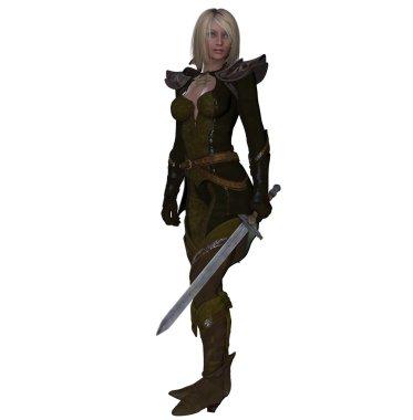 Blonde fantasy female warrior wielding a longsword