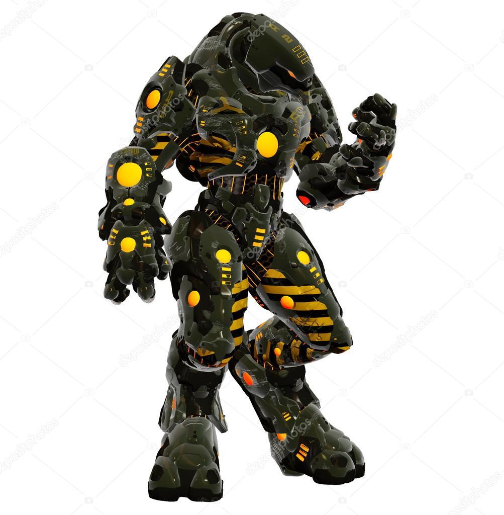 Armure Futuriste alien futuriste dans l'armure de combat puissant — photographie