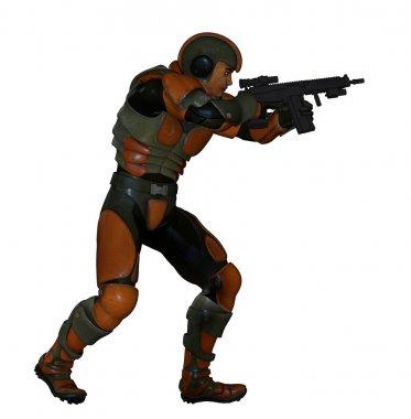 Futuristic swat unit in action