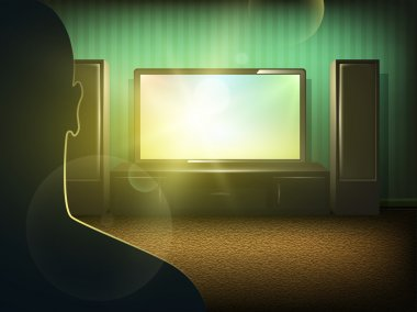 Man silhouette watching tv in the room
