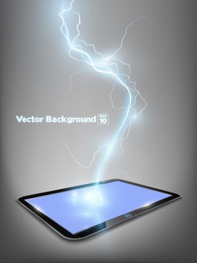 Touch tablet model with blue shine lightning flash