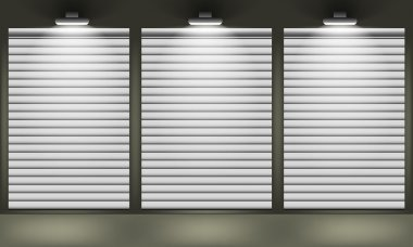 Shop with closed shutters windows, front view.