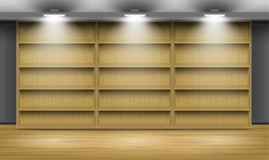 Empty wooden shelves, illuminated by searchlights