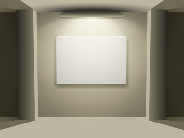 Showroom with empty walls and light