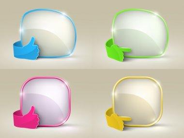 Bubble speech and glass hand set