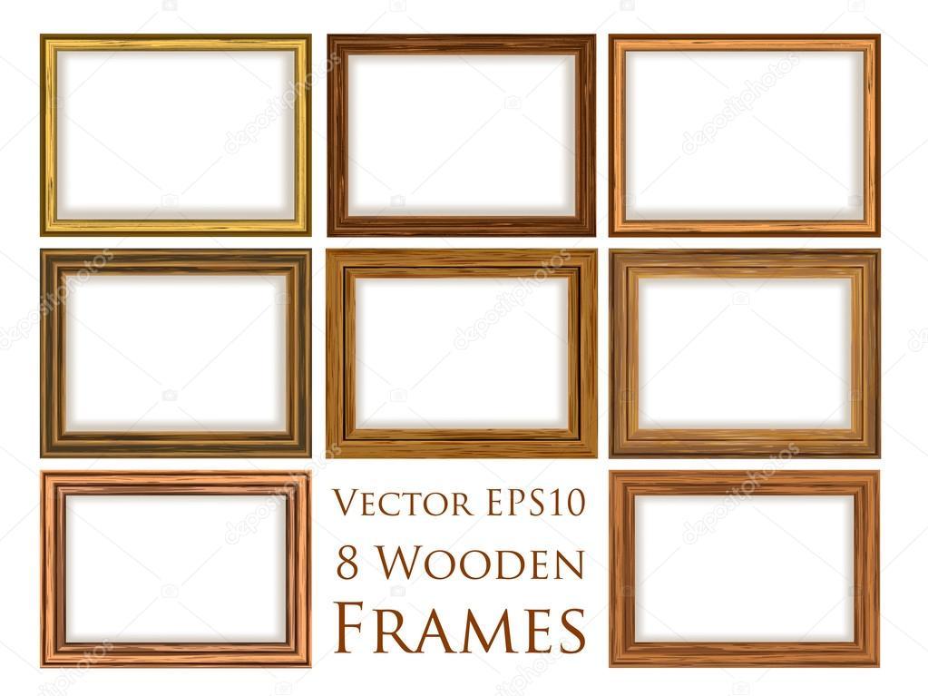 conjunto de marco de madera — Vector de stock © soundrain #26512049