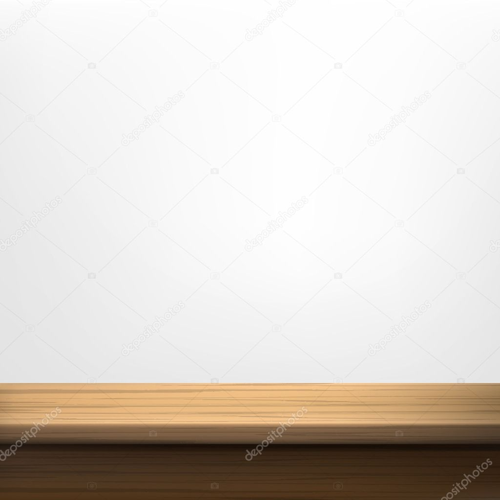 White wall background with wooden table
