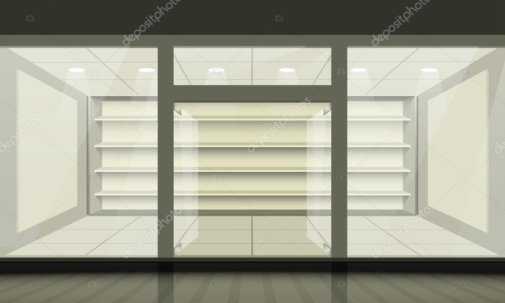 Türen shop  Shop mit Glasfenster und Türen öffnen, Vorderansicht — Stockvektor ...