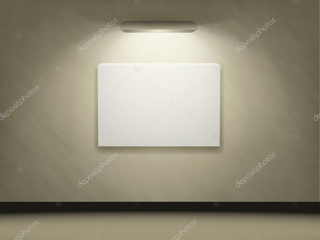 Sala espositiva con una cornice vuota di illuminazione