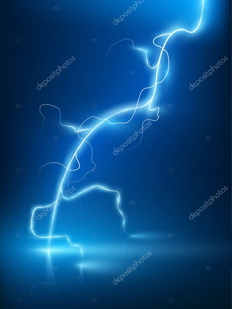 Abstract blue lightning flash background.