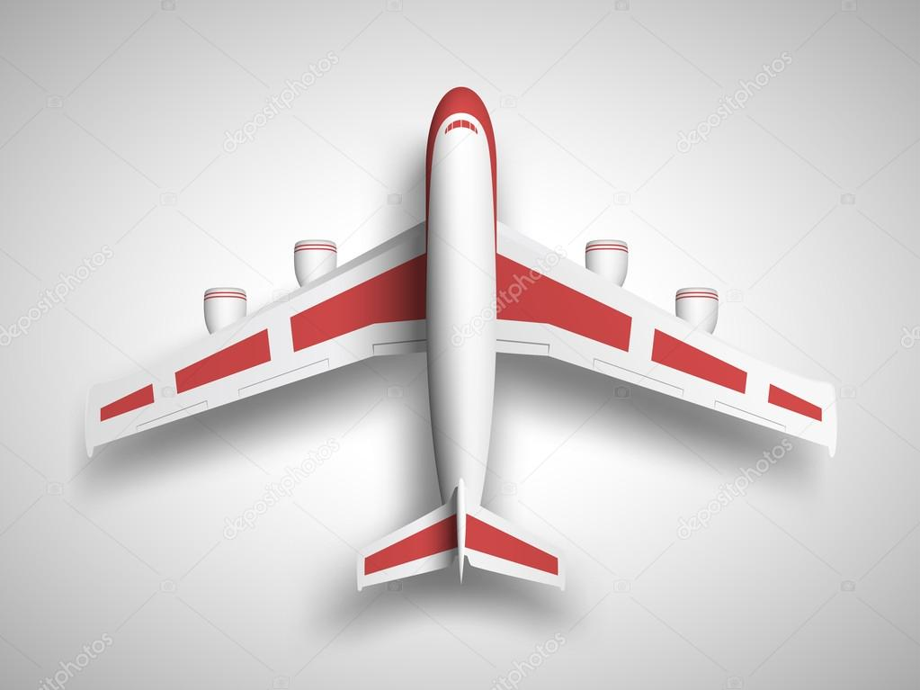 Vector red airplane top view.
