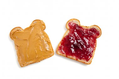 Open faced peanut butter and jelly sandwich