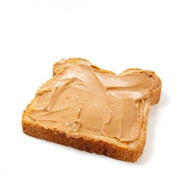 An open faced peanut butter sandwich