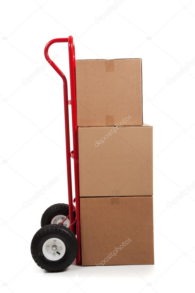 Brown cardboard moving box on white with a fragile sticker