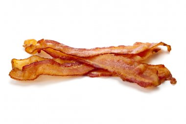 Slices of bacon on a white background stock vector
