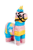 Pink, blue and yellow burro pinata on white