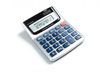 A pocket calculator on white