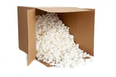 A brown, corrugated cardboard moving box with styrofoam packing peanuts on a white background stock vector