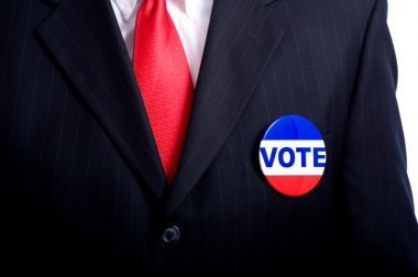Vote Button on Business Man or Politician