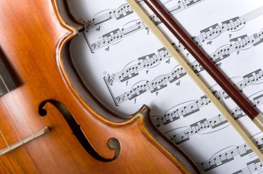 Violin and bow on music