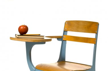 School Desk on White