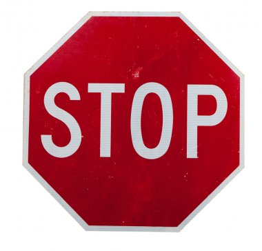 a red stop sign on white