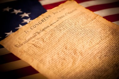 United States Declaration of Independence on flag background
