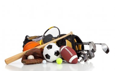 Assorted sports equipment on a white background with copy space stock vector