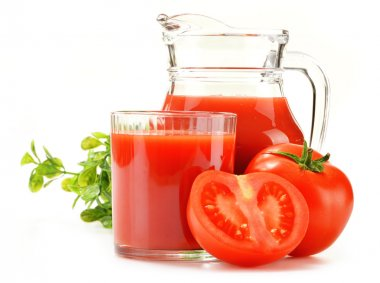 Composition with glass and jug of tomato juice isolated on white stock vector