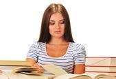 Fényképek fiatal nő, egy könyvet olvas. női tanulásnak