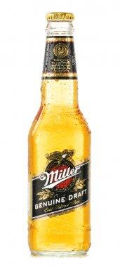 Bottle of Miller Genuine Draft beer isolated on white
