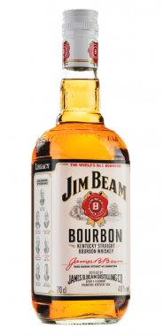 Bottle of Jim Beam bourbon isolated on white