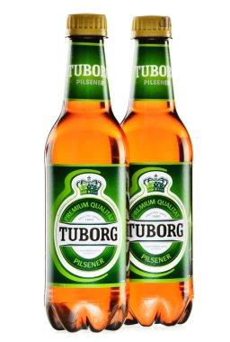 Bottles of Tuborg beer isolated on white
