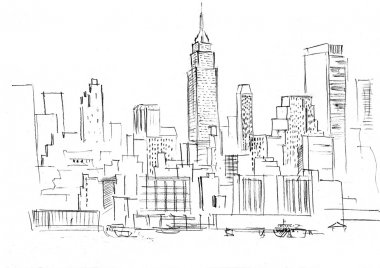 Pencil drawing of a landscape with set of skyscrapers in New York