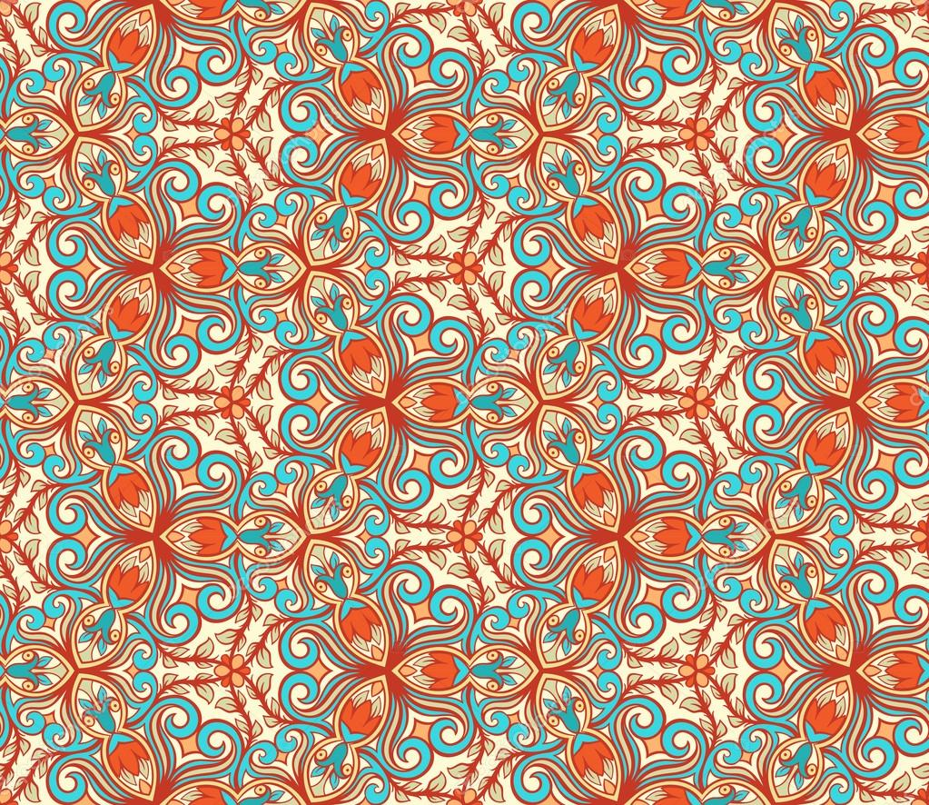 blue and orange retro floral pattern