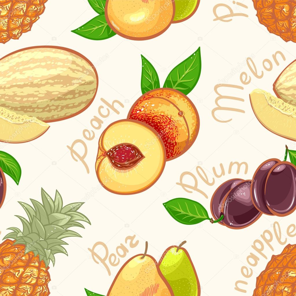 seamless exotic fruits - 1