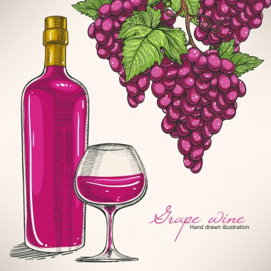 red wine bottle and bunches of grapes