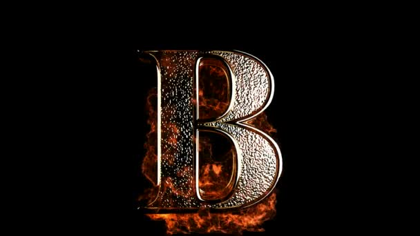 B letter in fire
