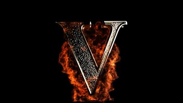 V letter in fire