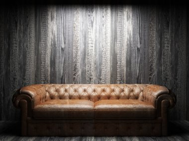 leather sofa in dark room