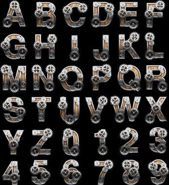wooden alphabet with gears