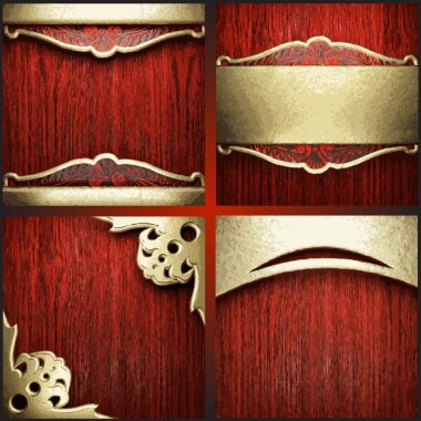 Vector red wood and gold background set