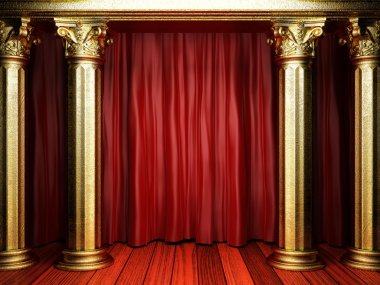 red fabric curtain on golden stage
