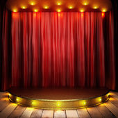 Fotografie red fabric curtain on golden stage