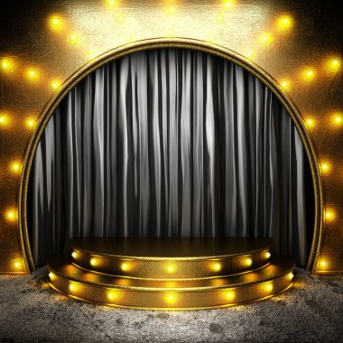 black fabric curtain on golden stage