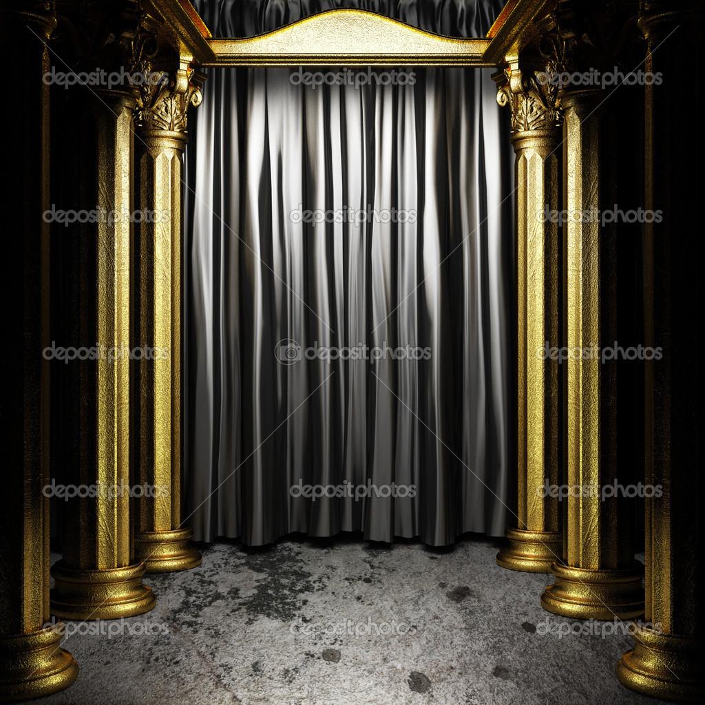 rideau en tissu noir sur sc ne dor photographie videodoctor 26487161. Black Bedroom Furniture Sets. Home Design Ideas