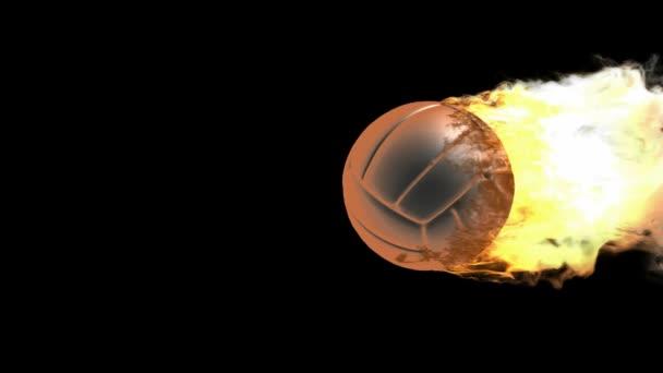 hořící volejbalový míč
