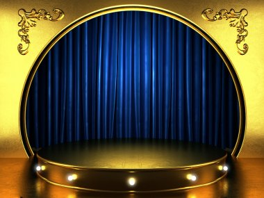 blue fabric curtain with gold on stage