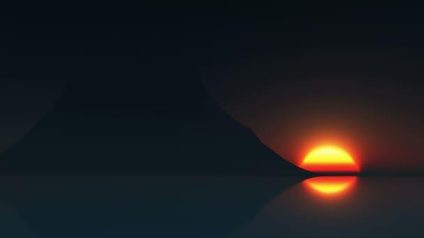 aufgehende Sonne und Berg am Meer